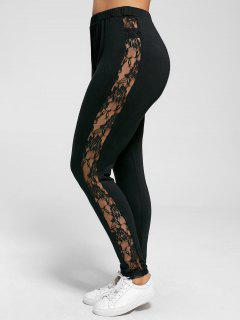 Plus Size Lace Insert Sheer Leggings - Black Xl