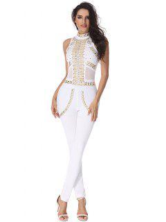Rivet Embellished Mesh Panel Jumpsuit - White S