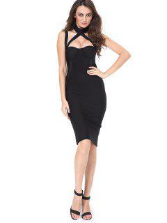 Vestido De Corte Recto Con Flecos - Negro S