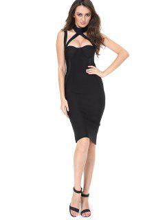 Cut Out Back Slit Fitted Dress - Black M