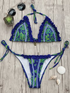 Frilled Paisley Print String Bikini Set - Blue L