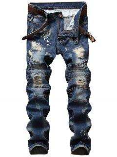 Zip Design Distressed Denim Pants - Denim Blue 42