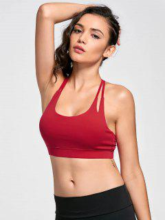 Quick Dry Strappy Sports Bra - Red L