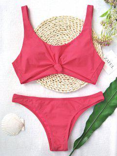 Knoten Badeanzug Mit Hoher Taille Und Rundhalsausschnitt - Wassermelonen Rosa S