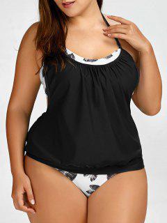 Leaf Plus Size Halter Tankini Swimsuits - Black 5xl