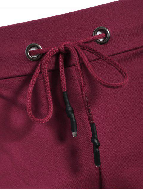 fancy Side Pocket Drawstring Men Bermuda Shorts - PURPLISH RED 3XL Mobile