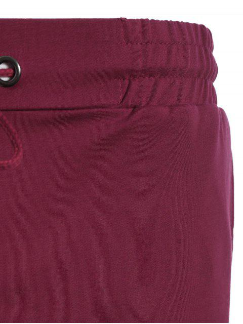 sale Side Pocket Drawstring Men Bermuda Shorts - PURPLISH RED XL Mobile