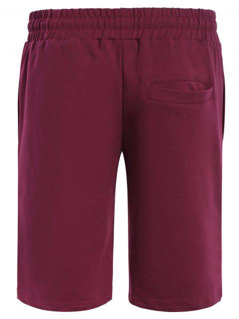 affordable Side Pocket Drawstring Men Bermuda Shorts - PURPLISH RED L Mobile