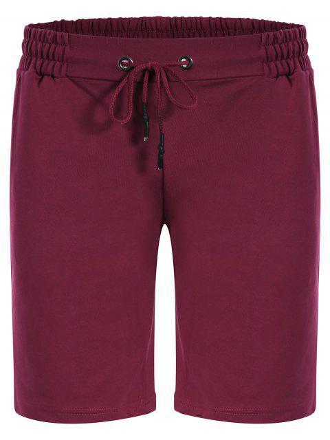 buy Side Pocket Drawstring Men Bermuda Shorts - PURPLISH RED M Mobile