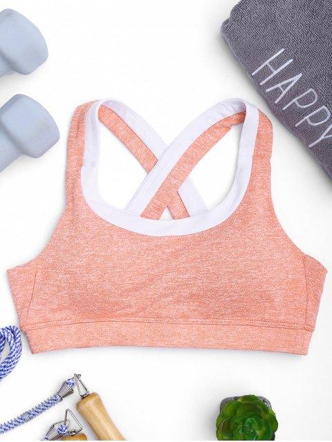 hot Marled Sweat Top Sports Bra - PINK L Mobile