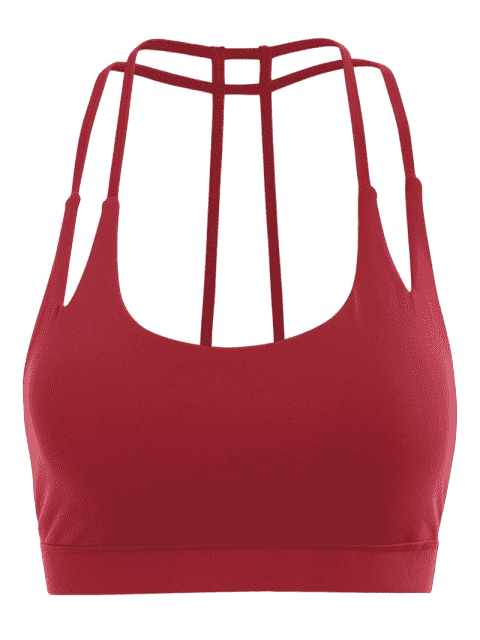 fancy Quick Dry Strappy Sports Bra - RED M Mobile