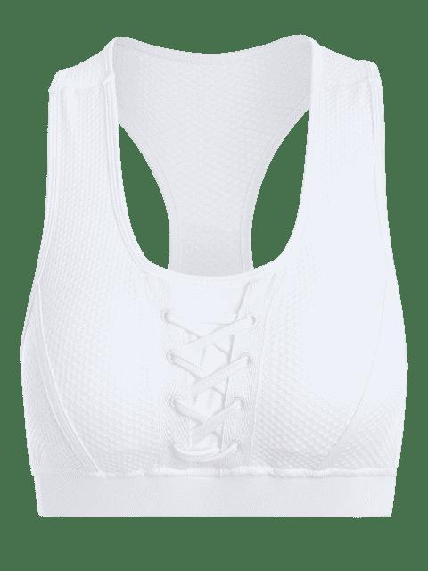 affordable U Neck Fishnet Overlay Sports Bra - WHITE L Mobile