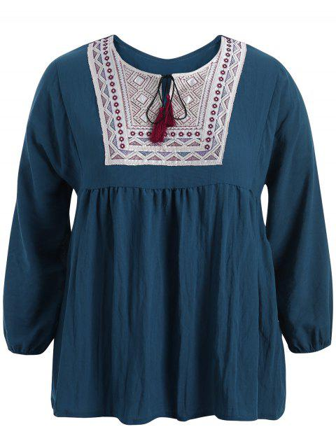 shop Plus Size Embroidered Long Sleeves Peasant Top - CADETBLUE 4XL Mobile