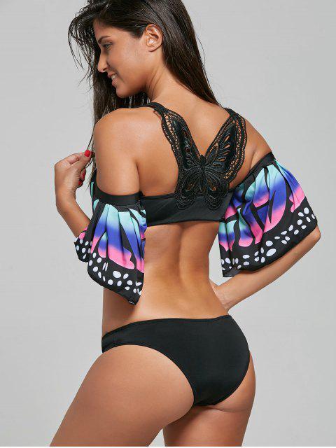 outfits Butterfly Sleeve Crochet Back Bikini Set - BLACK L Mobile