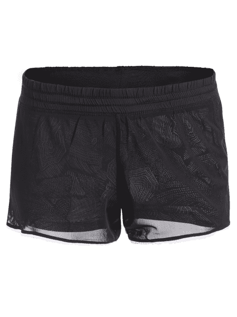 new Mesh Layered Running Shorts - BLACK L Mobile