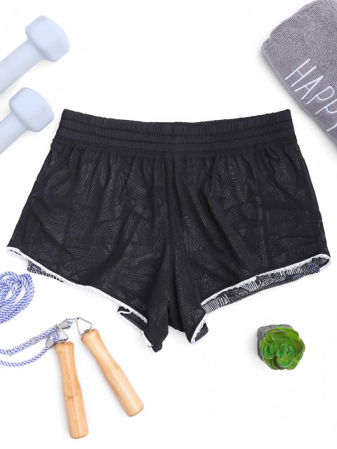 hot Mesh Layered Running Shorts - BLACK M Mobile