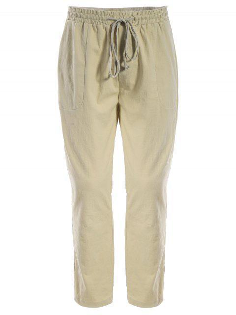 shop Mens Drawstring Joggers Pants - KHAKI L Mobile