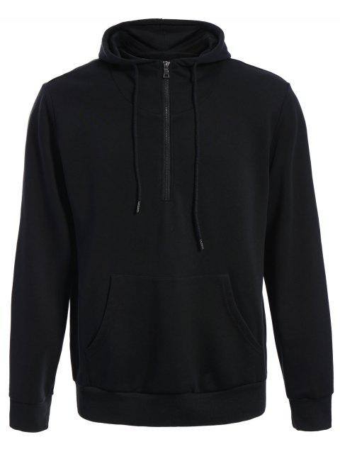 unique Mens Front Pocket Oversized Pullover Hoodie - BLACK 4XL Mobile