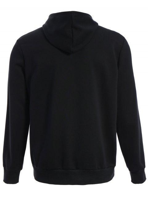 affordable Mens Front Pocket Oversized Pullover Hoodie - BLACK 2XL Mobile