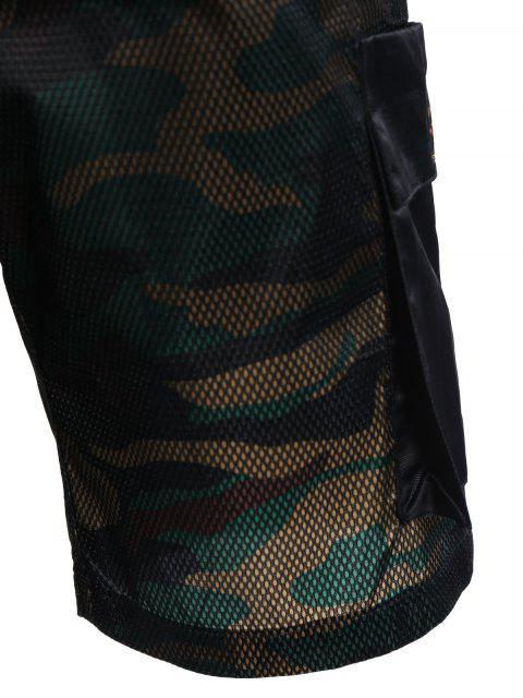 ladies Camo Print Swim Cargo Board Shorts - CAMOUFLAGE 3XL Mobile