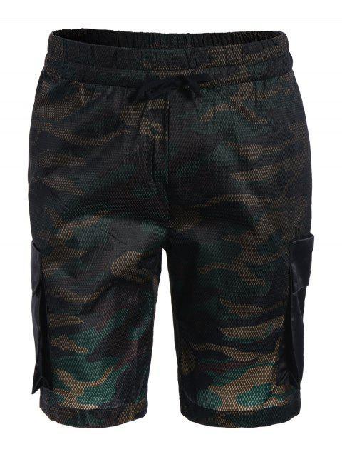 best Camo Print Swim Cargo Board Shorts - CAMOUFLAGE XL Mobile