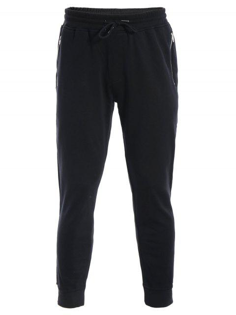 outfits Zip Pockets Mens Joggers Sweatpants - BLACK 2XL Mobile