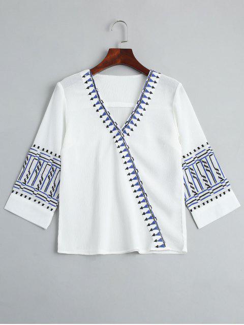 buy V Neck Embroidery Blouse - WHITE L Mobile