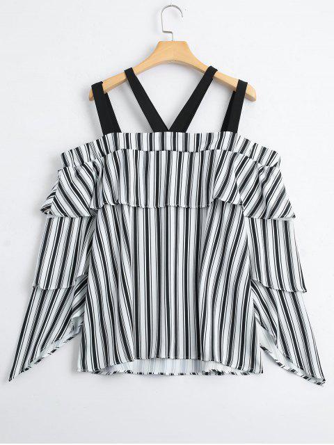 new Layered Stripes Cold Shoulder Blouse - STRIPE L Mobile