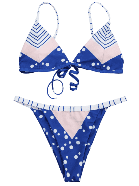 best Padded Chevron Dot Print String Bikini Set - BLUE AND PINK M Mobile