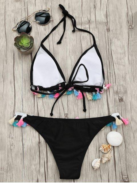 hot Tassels Pom Pom Padded Bikini Set - BLACK M Mobile