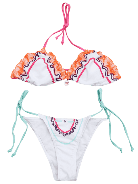 shop Adjustable Tie Padded String Bikini Set - WHITE M Mobile