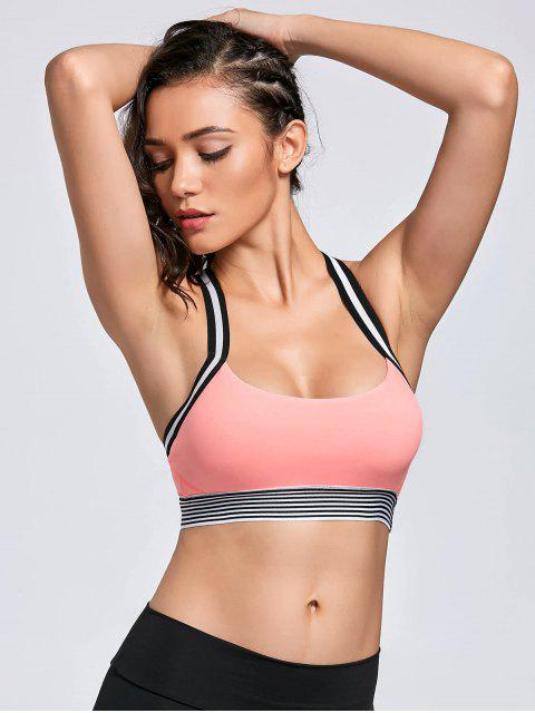 trendy Contrast Band Racerback Sports Bra - PINK S Mobile