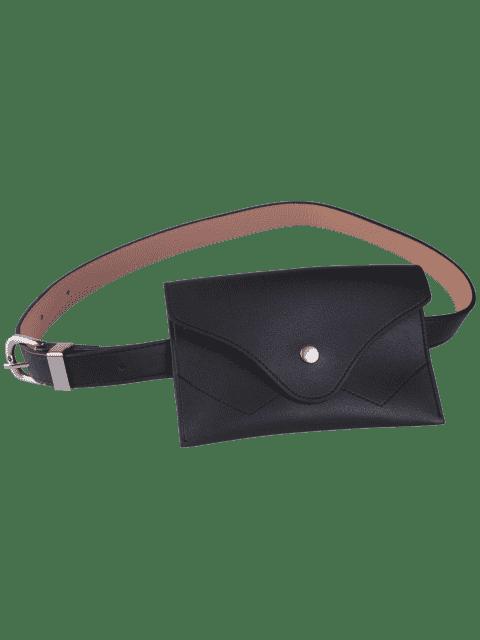 buy Pin Buckle Faux Leather Waist Belt Bag - BLACK  Mobile
