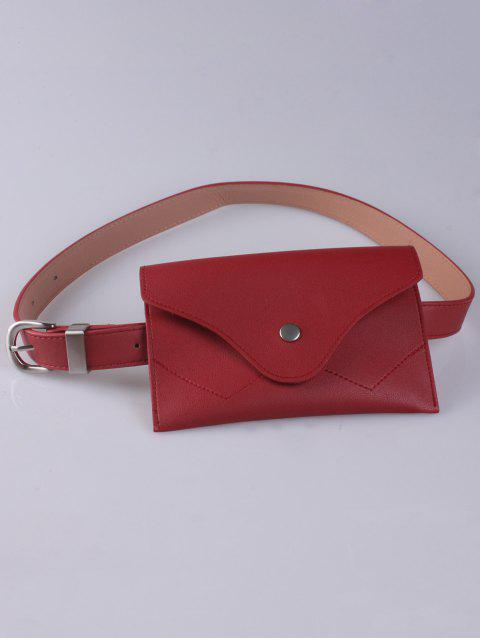 womens Pin Buckle Faux Leather Waist Belt Bag - RED  Mobile