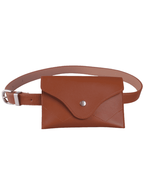women Pin Buckle Faux Leather Waist Belt Bag - CHOCOLATE  Mobile