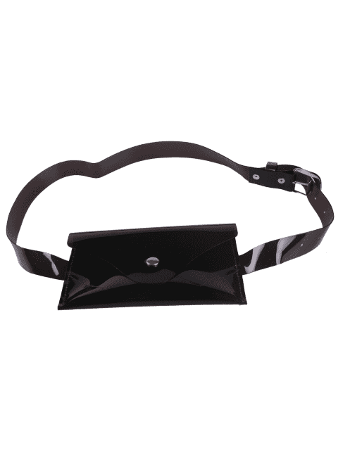 lady Jelly Color Portable Waist Belt Bag - BLACK  Mobile