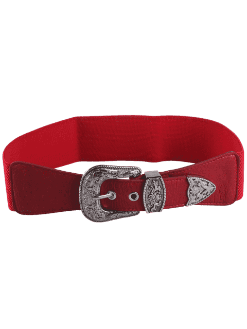 hot Retro Engraved Pin Buckle Elastic Waist Belt - RED  Mobile
