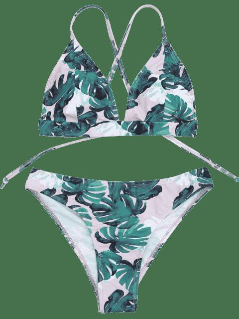 sale Banana Leaf Print Strappy Bikini Set - BLUE AND PINK L Mobile