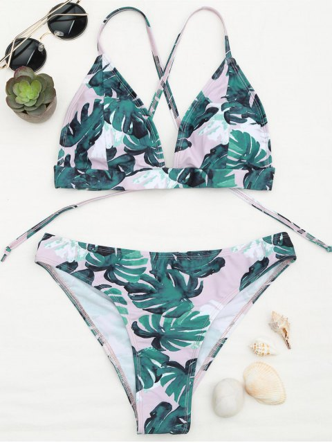 affordable Banana Leaf Print Strappy Bikini Set - BLUE AND PINK M Mobile