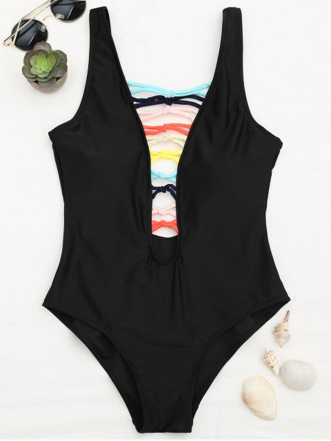 womens Shaping Strappy Front Plunge One Piece Swimsuit - BLACK L Mobile