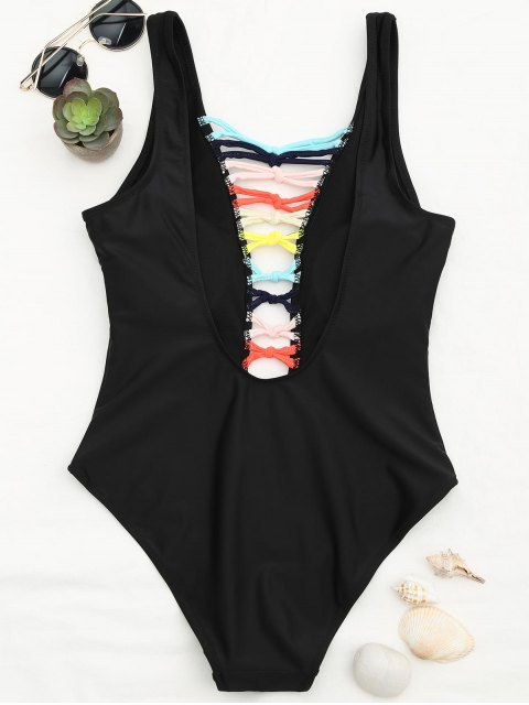 Shaping Strappy Front Plunge One Piece Swimsuit - Noir M Mobile