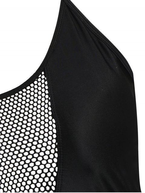 best Plus Size Fishnet Panel One Piece Swimsuit - BLACK 3XL Mobile