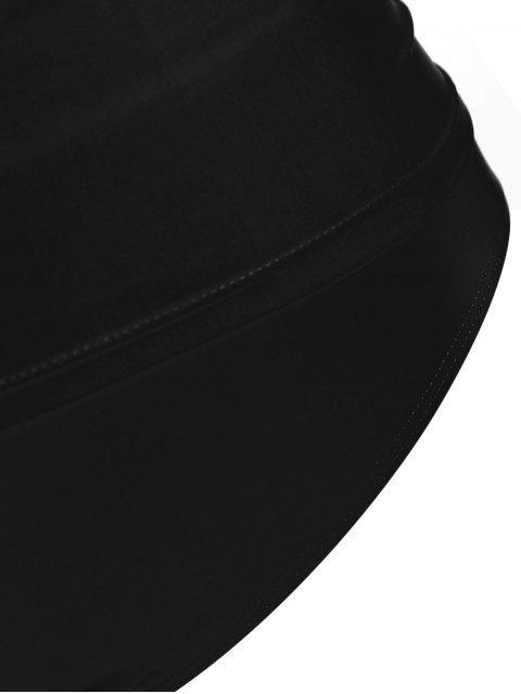 outfit Halter Tankini Plus Size Bathing Suit - BLACK 4XL Mobile