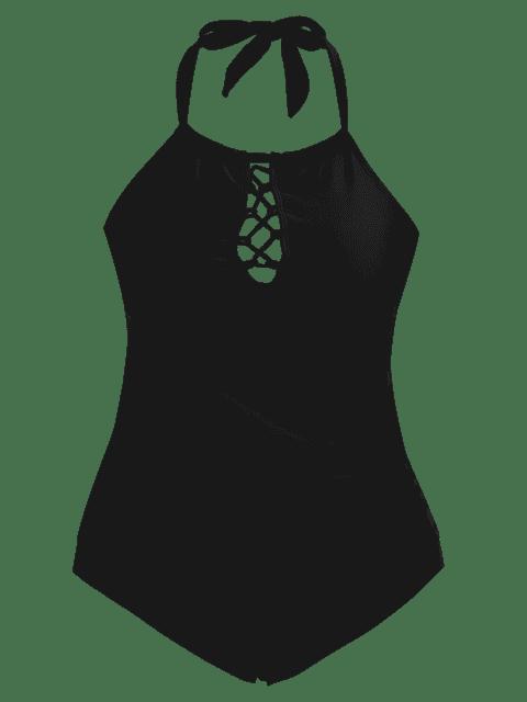 shop Halter Tankini Plus Size Bathing Suit - BLACK 2XL Mobile