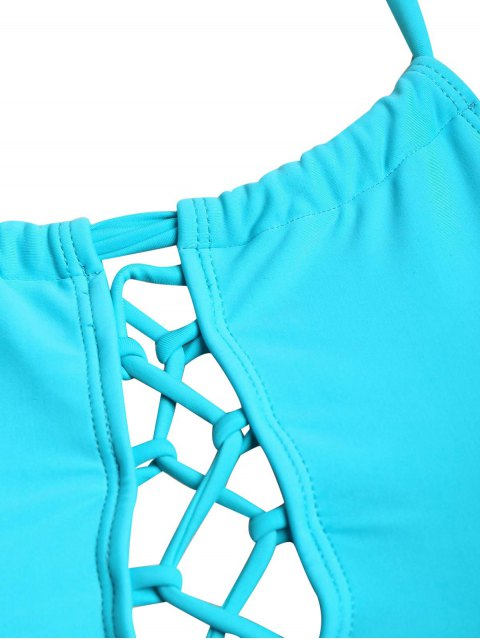 fashion Halter Tankini Plus Size Bathing Suit - LAKE BLUE 3XL Mobile