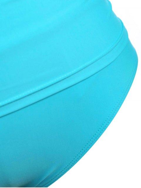 chic Halter Tankini Plus Size Bathing Suit - LAKE BLUE 2XL Mobile