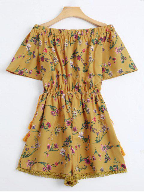 Off The Shoulder Drawstring Floral Print Romper - Jaune M Mobile