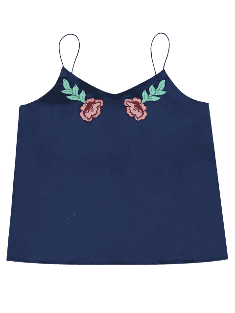 ladies Cami Satin Floral Emnroidered Tank Top - DEEP BLUE S Mobile