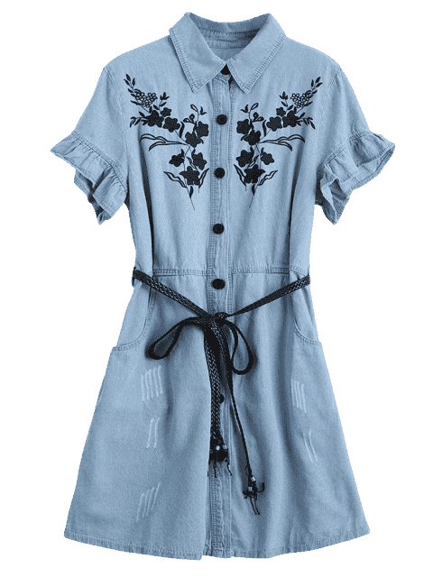 women's Floral Patched Ruffled Belted Denim Dress - LIGHT BLUE XL Mobile