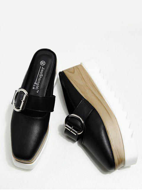 latest Buckle Strap Square Toe Platform Slippers - BLACK 38 Mobile